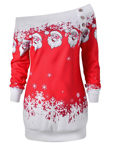 cheap CHRISTMAS-Women's Pullover Sweatshirt Graphic Daily Christmas Hoodies Sweatshirts  Loose Black Purple Red