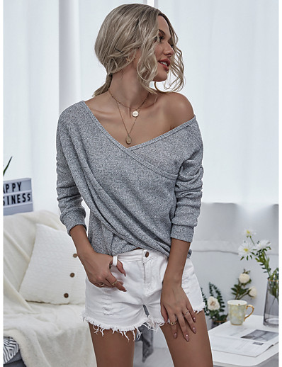 cheap TOPS-Women's Blouse Shirt Solid Colored Long Sleeve Patchwork V Neck Tops Loose Basic Basic Top Black Red Gray