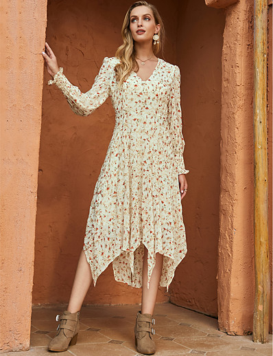 cheap Exclusive-Women's Swing Dress Midi Dress - Long Sleeve Floral Print Fall Winter V Neck Casual Mumu Going out Chiffon 2020 Beige S M L XL