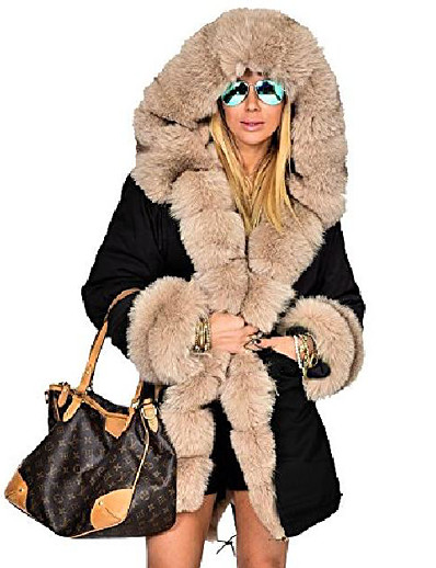 cheap Furs & Leathers-womens hooded camouflage warm winter coats faux fur jacket parka overcoat
