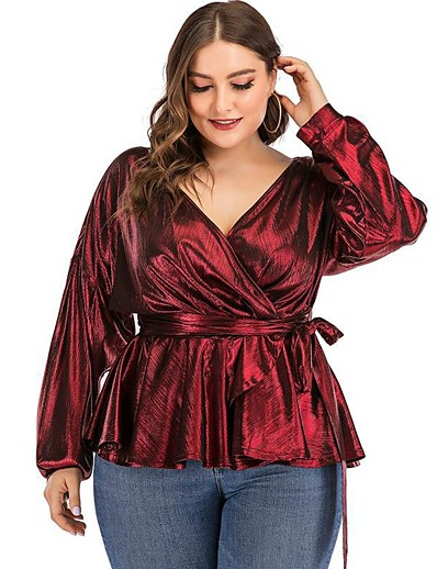cheap Plus Size Tops-Women's Plus Size Blouse Shirt Solid Colored Long Sleeve Lace up V Neck Tops Lantern Sleeve Slim Basic Basic Top Wine