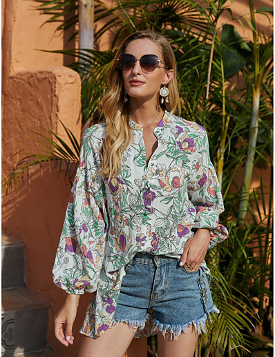 cheap NEW IN EXCLUSIVE-Women's Blouse Shirt Floral Flower Long Sleeve Print V Neck Tops Lantern Sleeve Basic Basic Top Green