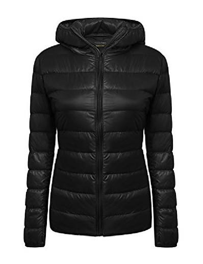 cheap Down& Parkas-women's lightweight packable hooded coat outwear puffer down jacket (s, white)