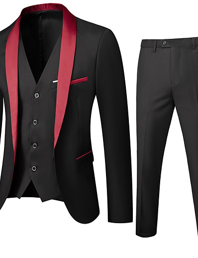 cheap Men's Outerwear-Men's Shawl Lapel Suits Solid Colored Black / Red / Wine US32 / UK32 / EU40 / US34 / UK34 / EU42 / US36 / UK36 / EU44