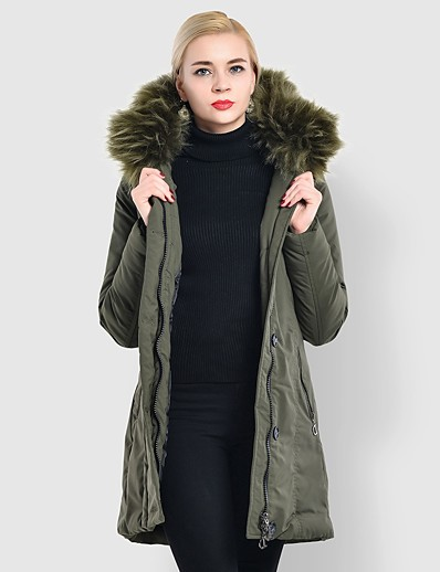 cheap OUTERWEAR-Women's Padded Parka Solid Colored Nylon Black / Army Green S / M / L