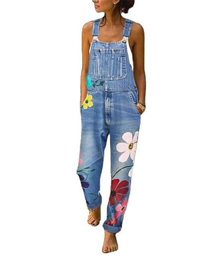 cheap Jumpsuits & Rompers-Women's Basic Navy Blue Gray Light Blue Jumpsuit Floral Patchwork Print
