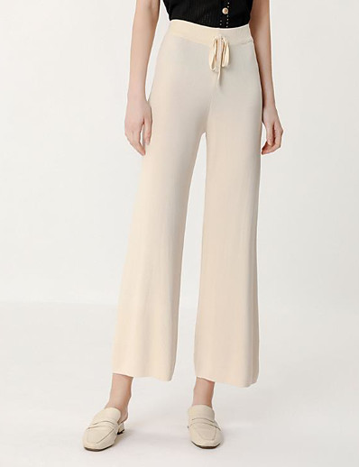 cheap Bottoms-Women's Basic Breathable Loose Daily Wide Leg Pants Solid Colored Full Length High Waist Black Beige