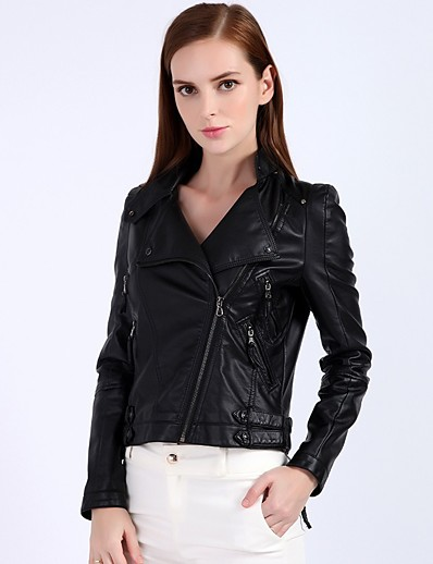 cheap OUTERWEAR-Women's Zipper Stand Collar Faux Leather Jacket Short Solid Colored Daily Basic Black S M L XL