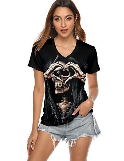 cheap NEW IN-Women's T-shirt Graphic Prints Skull Print Round Neck Tops Basic Halloween Basic Top Black