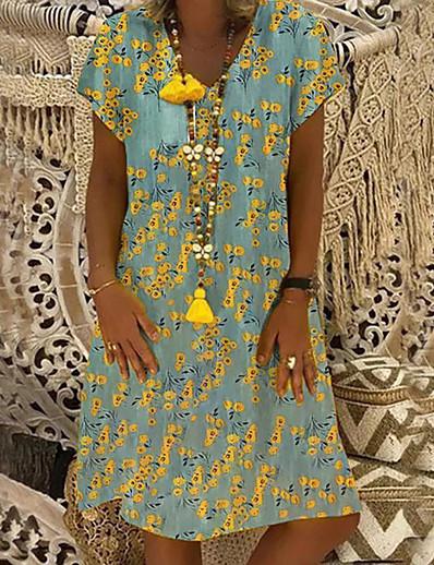 cheap 09/16/2020-Women's A-Line Dress Knee Length Dress - Short Sleeve Print Patchwork Print Summer V Neck Casual Daily Loose 2020 Red Yellow S M L XL XXL XXXL XXXXL XXXXXL