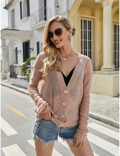 cheap 2020 F/W-Women's Basic Knitted Solid Color Cardigan Acrylic Fibers Long Sleeve Loose Sweater Cardigans V Neck Fall Winter Blushing Pink