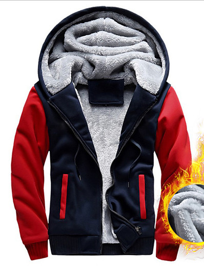 cheap Running, Jogging & Walking-Men's Long Sleeve Running Track Jacket Hoodie Jacket Full Zip Outerwear Coat Top Casual Athleisure Winter Fleece Thermal Warm Windproof Breathable Gym Workout Running Jogging Sportswear Solid Colored