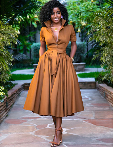 cheap Casual Dresses-Women's A Line Dress Midi Dress Army Green Orange Half Sleeve Solid Color Button Summer Shirt Collar Hot Casual 2021 S M L XL