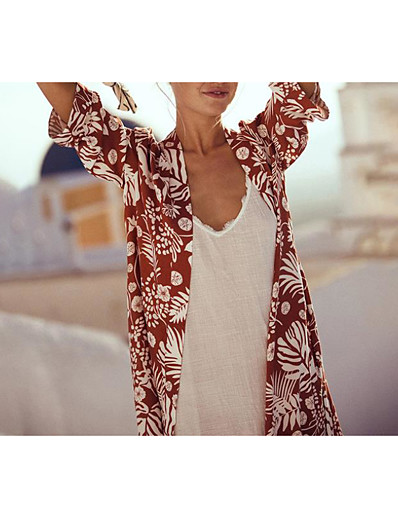 cheap Cover Ups-Women's Sweet Style Cover-Up Swimsuit Slim Print Floral Print Swimwear Bathing Suits Red Green / Padless