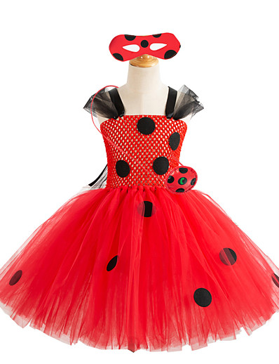 cheap Movie & TV Theme Costumes-Ladybug Cosplay Costume Costume Girls' Movie Cosplay Tutus Plaited Vacation Dress Red Dress Storage Case Eye Mask Christmas Halloween Carnival Polyester / Cotton Polyester