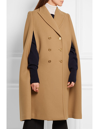 cheap OUTERWEAR-Women's Fall & Winter Double Breasted Cloak / Capes Regular Solid Colored Daily Basic Camel XS S M L / Loose