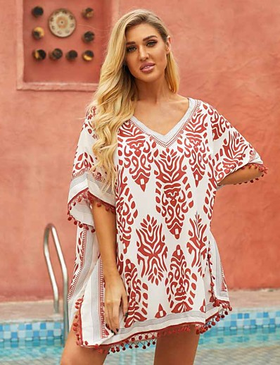 cheap Cover Ups-Women's Sexy Cover-Up Swimsuit Tassel Fringe Oversized Floral Print V Wire Swimwear Bathing Suits Black Blue Orange / Padless