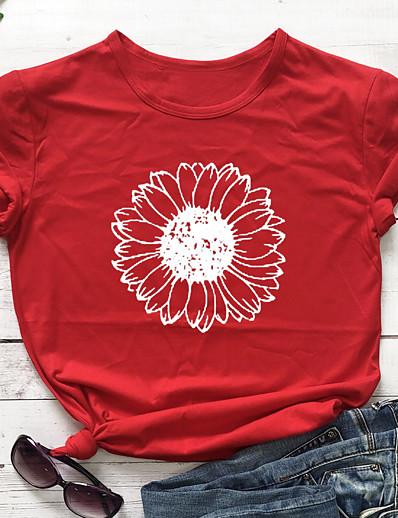 cheap TOPS-Women's T-shirt Floral Flower Sunflower Round Neck Tops 100% Cotton Basic Basic Top Navy ArmyGreen White