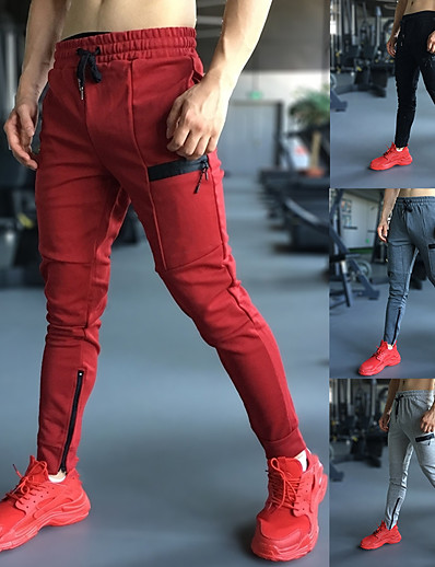 cheap Running, Jogging & Walking-Men's Joggers Jogger Pants Track Pants Street Sweatpants Athleisure Wear Bottoms Drawstring Spandex Cotton Winter Fitness Gym Workout Running Jogging 4 Way Stretch Soft Power Flex Sport Solid Colored