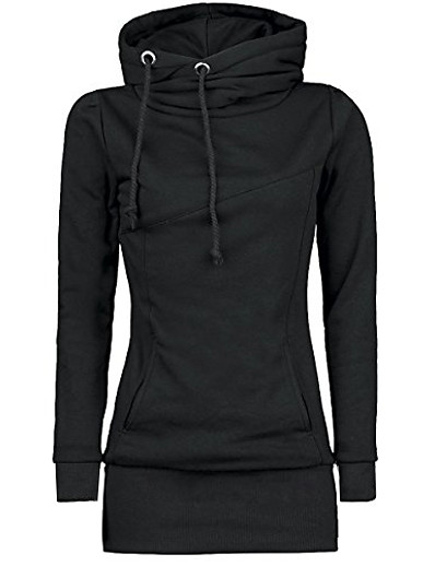 cheap Hoodies & Sweatshirts-women's casual long sleeve solid color slim fit cowl neck pullover sweatshirt tops outwear black