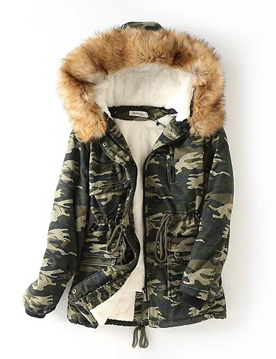 cheap OUTERWEAR-Women's Padded Parka Camouflage Cotton Red / Army Green M / L / XL