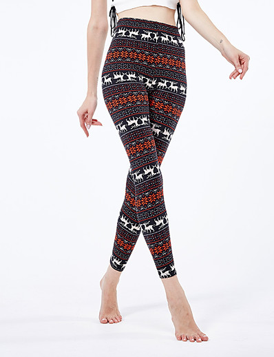 cheap Christmas Accessories-Women's Sporty Yoga Comfort Skinny Christmas Leggings Pants Animal Ankle-Length High Waist White Black Red