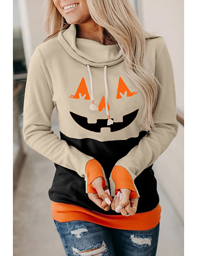 cheap HALLOWEEN-Women's Halloween Pullover Hoodie Sweatshirt Pumpkin Basic Halloween Hoodies Sweatshirts  Loose Black Orange Khaki