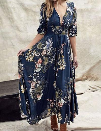cheap NEW IN-Women's Swing Dress Maxi long Dress - Half Sleeve Floral Ruffle Print Summer V Neck Casual Boho Holiday Weekend Loose 2020 Blue Green S M L XL XXL XXXL XXXXL