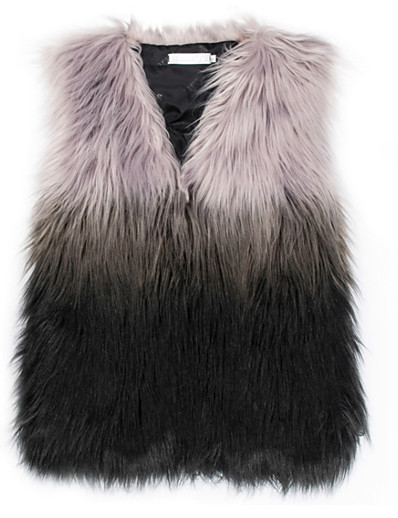 cheap Furs & Leathers-Women's Vest Long Color Block Daily Basic Gray S M L
