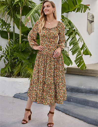 cheap NEW IN EXCLUSIVE-Women's Swing Dress Midi Dress - Long Sleeve Floral Print Fall Winter Square Neck Casual Boho Going out Lantern Sleeve 2020 Rainbow S M L XL