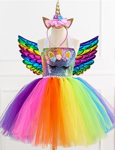 cheap Movie & TV Theme Costumes-Unicorn Girls' Dress Wings Headband Movie Cosplay Dance Tight Tutus Vacation Dress Golden Blue Rainbow Christmas Halloween Carnival Dress Wings Headwear Polyester / Cotton Polyester