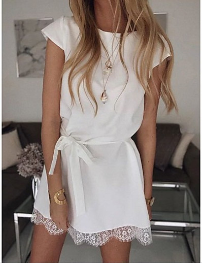 cheap NEW IN-Women's Shift Dress Short Mini Dress - Short Sleeve Solid Color Lace Summer Casual Daily Loose 2020 White Black Khaki S M L XL XXL