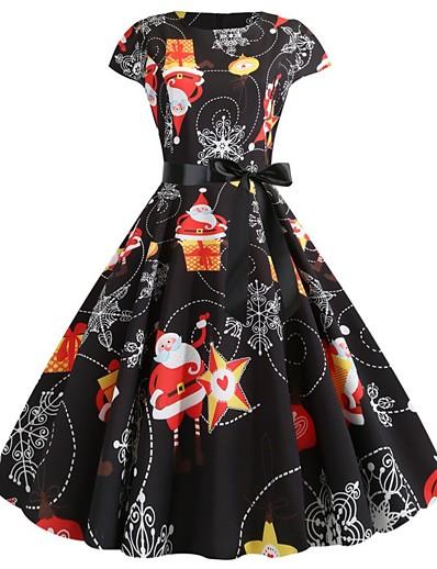 cheap NEW IN-Women's A-Line Dress Knee Length Dress - Short Sleeve Print Bow Patchwork Print Summer Elegant Vintage Party Slim 2020 White Orange S M L XL XXL