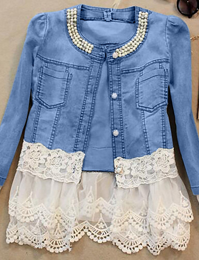 cheap Jackets-Women's Single Breasted Denim Jacket Regular Solid Colored Daily Weekend Spring Blue & White Lace Cotton Blue S / M / L