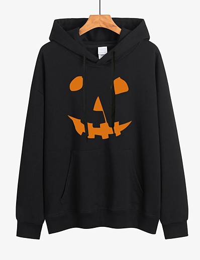cheap HALLOWEEN-Women's Halloween Pullover Hoodie Sweatshirt Pumpkin Halloween Hoodies Sweatshirts  Loose White Black Red