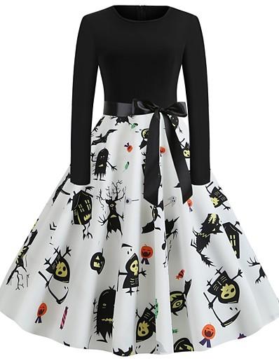 cheap HALLOWEEN 2020-Halloween Women's A-Line Dress Knee Length Dress - Long Sleeve Pumpkin Skulls Print Bow Patchwork Print Summer Vintage Slim 2020 White Blue Purple Red Orange Green Brown S M L XL XXL