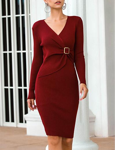 cheap White Dresses-Women's Sweater Jumper Dress Short Mini Dress - Long Sleeve Fall Winter V Neck 2020 Black Wine Green Gray One-Size