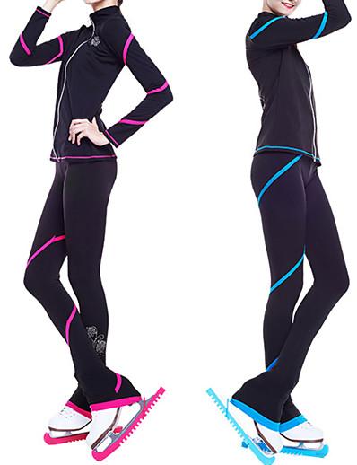 cheap Ice Skating-Figure Skating Jacket with Pants Women's Girls' Ice Skating Pants / Trousers Top Blue Pink Glitter Spandex Stretchy Training Skating Wear Warm Crystal / Rhinestone Long Sleeve Ice Skating Winter
