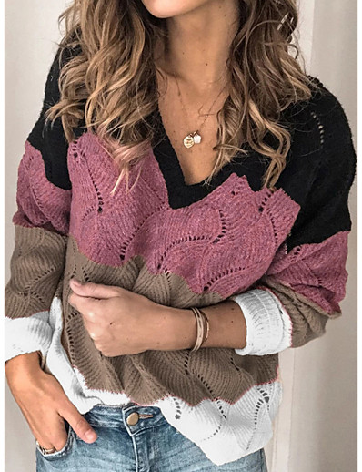 cheap NEW IN-Women's Knitted Hollow Out Color Block Pullover Cotton Long Sleeve Loose Sweater Cardigans V Neck Fall Winter Purple Blushing Pink Orange
