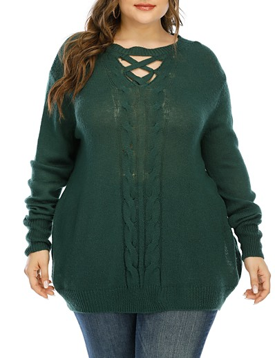 cheap Plus Size Sweaters-Women's Basic Hollow Out Knitted Solid Color Plain Pullover Acrylic Fibers Long Sleeve Plus Size Sweater Cardigans Crew Neck Fall Winter Green