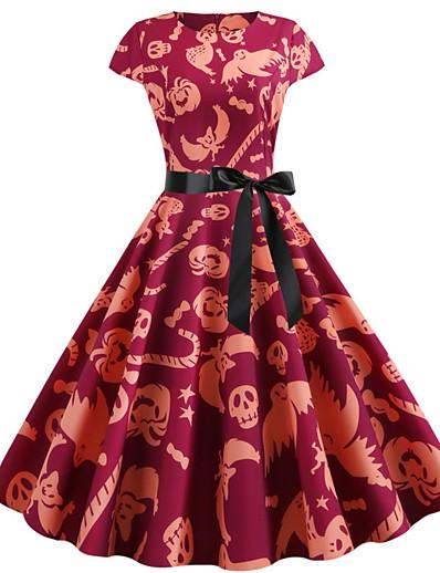 cheap HALLOWEEN 2020-Halloween Women's A-Line Dress Knee Length Dress - Short Sleeve Owl Pumpkin Skulls Print Bow Patchwork Print Fall Vintage Slim 2020 White Red Fuchsia Orange S M L XL XXL