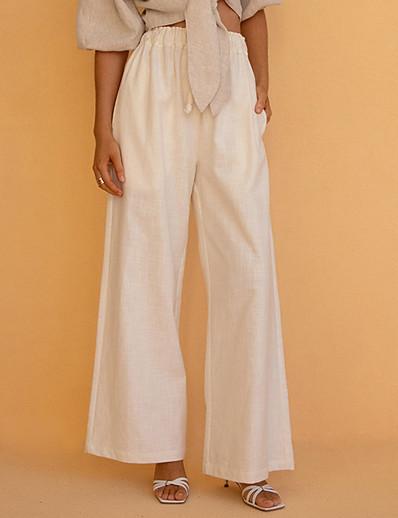 abordables Bas-Femme basique Confort Mélange de Lin & Coton Ample Quotidien Ample Chino Pantalon Couleur Pleine Toute la longueur Beige