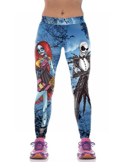 abordables Bas-Femme Exagéré Yoga Halloween Joggings Pantalon Crânes Imprimé Respirable Bleu S M L