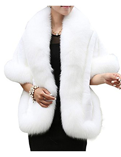 cheap Furs & Leathers-Women's Cloak / Capes Regular Solid Colored Party Sophisticated White Black Red Wine One-Size / Loose