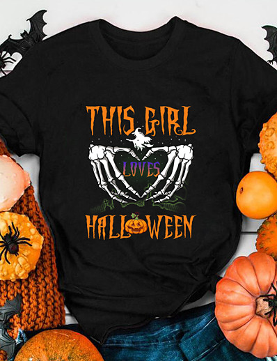 cheap NEW IN-Women's Halloween T-shirt Heart Graphic Prints Skull Print Round Neck Tops 100% Cotton Basic Halloween Basic Top White Black Purple