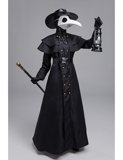 cheap Cosplay & Costumes-Plague Doctor Punk & Gothic Steampunk 17th Century Coat Trench Coat Outerwear Men's Rivet Costume Black Vintage Cosplay Long Sleeve Halloween Masquerade Sheath / Column / Gloves / Mask / Hat / Gloves