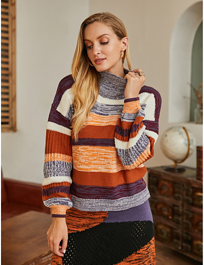 cheap NEW IN EXCLUSIVE-Women's Basic Knitted Striped Pullover Acrylic Fibers Long Sleeve Loose Sweater Cardigans Turtleneck Fall Winter Rainbow