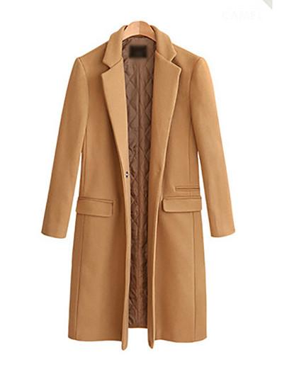 cheap Coats & Trench Coats-Women's Solid Colored Basic Fall & Winter Coat Regular Daily Long Sleeve Wool Coat Tops Black