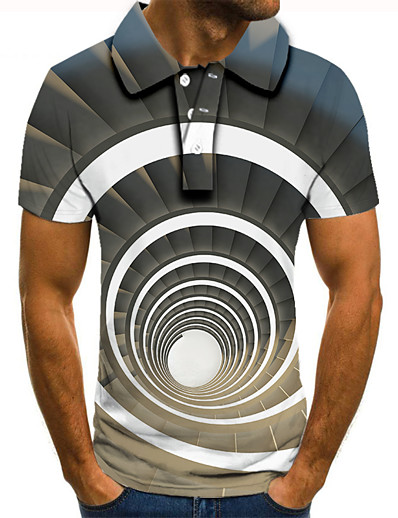 cheap Men's 3D-Men's Polo 3D Print Graphic Optical Illusion Print Short Sleeve Daily Tops Basic Gray