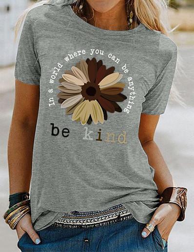 cheap TOPS-Women's T-shirt Floral Letter Flower Print Round Neck Tops Basic Basic Top White Black Blue